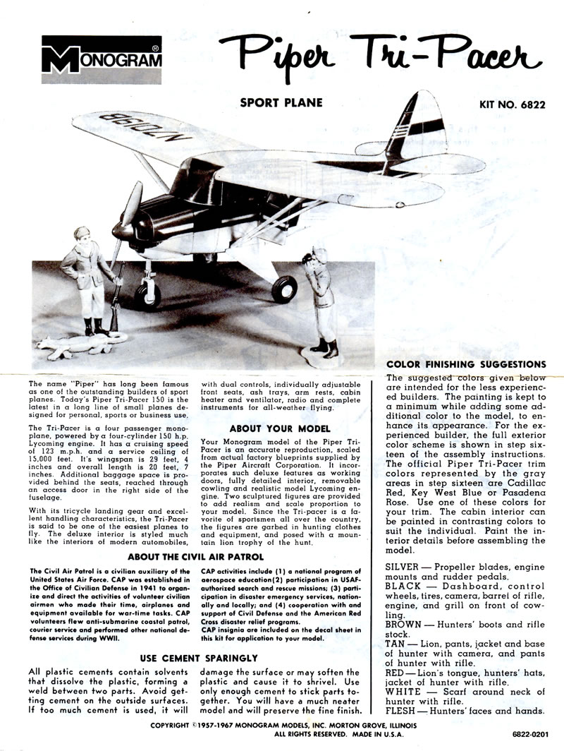 Monogram Piper Tri-Pacer | Large Scale Planes