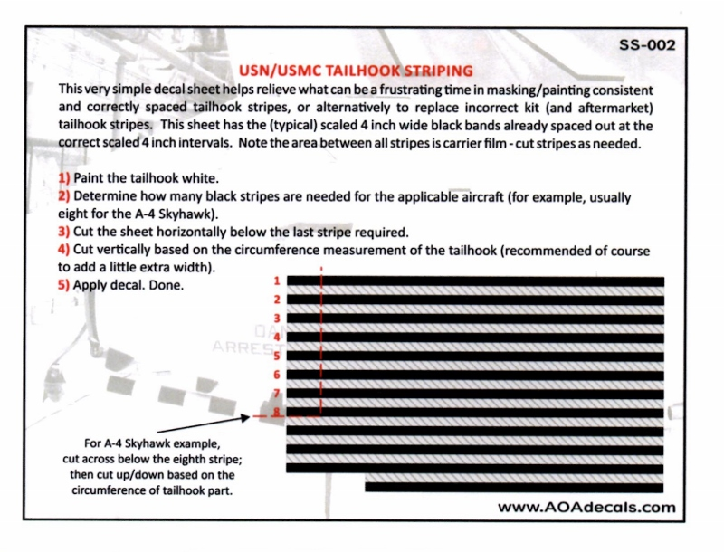 AOA Decals SS-002a Tail Hook Striping | Large Scale Planes