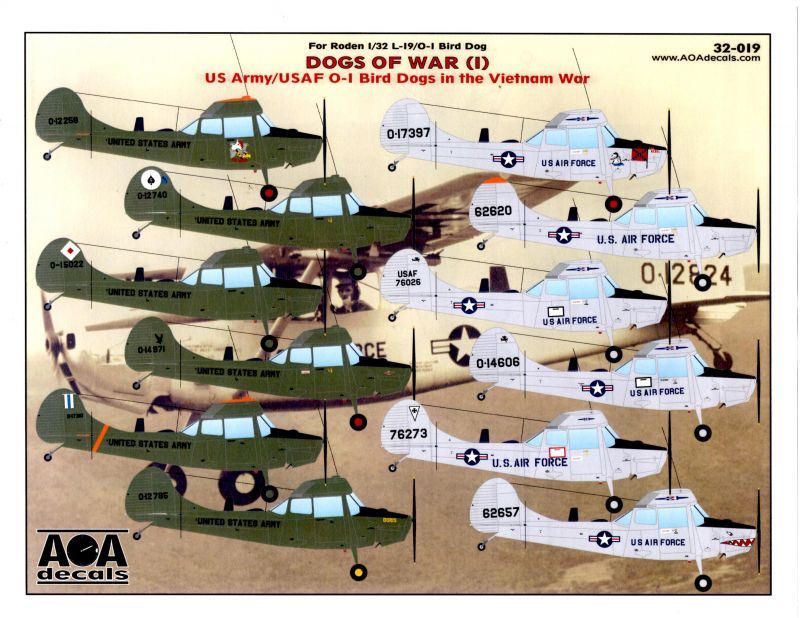 AOA Decals 32-019: Dogs of War 1 US Army/USAF O-1 Bird Dogs