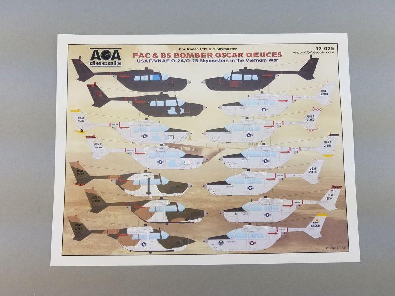 AOA Decals 1//32 for Roden O2 Skymaster FAC /& BS Bomber Oscar Deuces 32-025