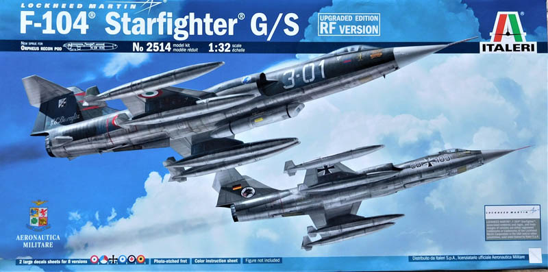 Italeri's kit #2514 is the latest boxing of their 1/32 F-104 Starfighter  kits. The kit is the same as their original #2502 F-104 G/S kit with the  addition ...