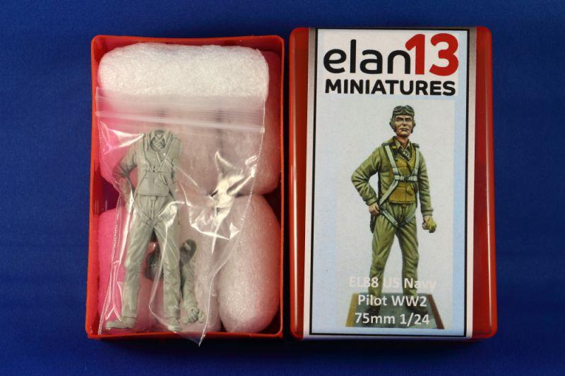 Elan13 Miniatures EL88 US Navy Pilot WW2 75mm 1/24 | Large Scale Planes